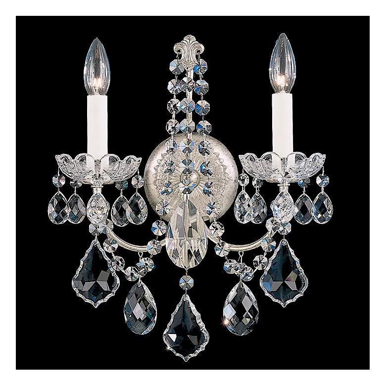 """New Orleans 14 1/2"""" High Silver Hand-Cut Crystal Wall Sconce"""