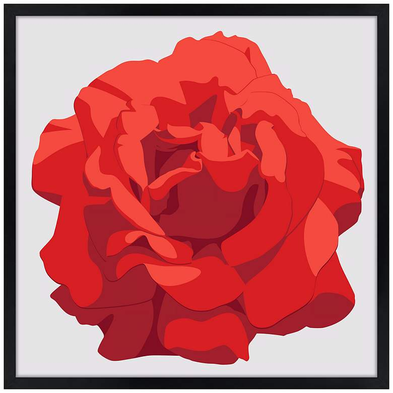 "Perfect Red Rose 21"" Square Black Giclee Wall Art"