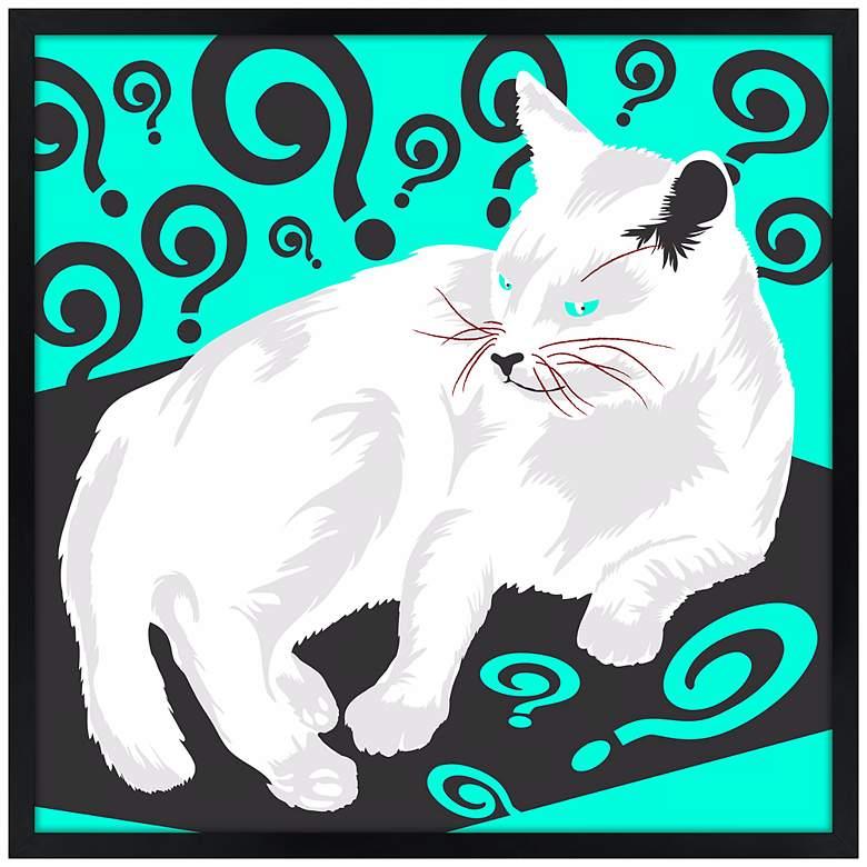 "Cat Nap II 21"" Square Black Giclee Wall Art"
