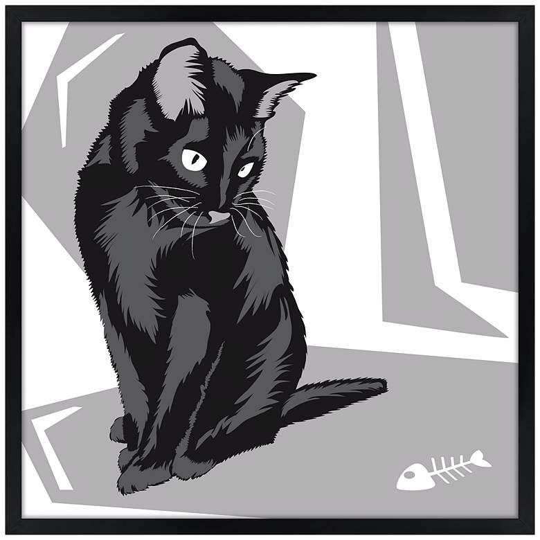 "Curious Cat II 21"" Square Black Giclee Wall Art"