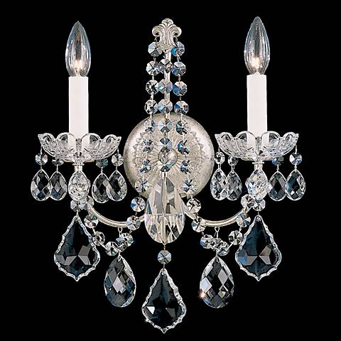 """New Orleans 14 1/2""""H Silver Swarovski Crystal Wall Sconce"""