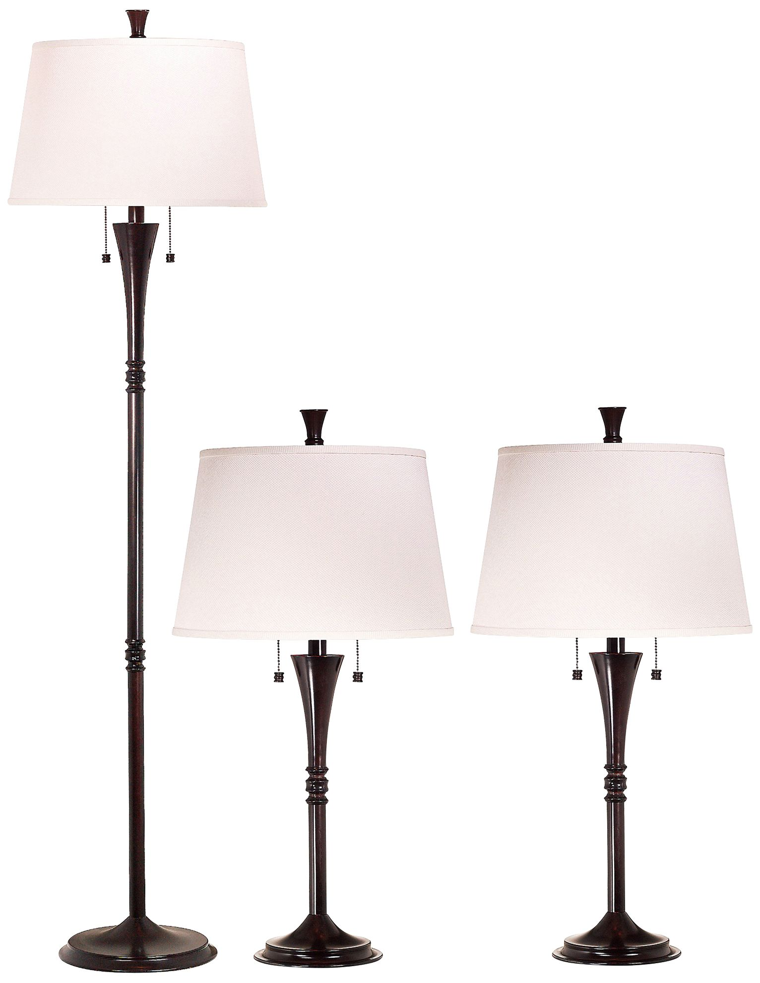 Superior Set Of 3 Park Avenue Bronze Floor And Table Lamps