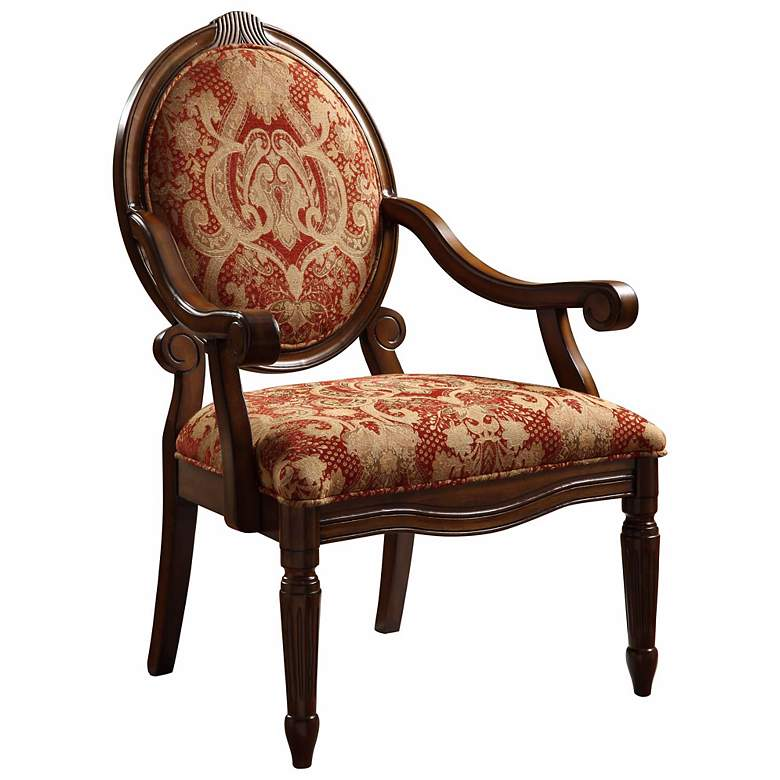 Brentwood Burgundy Exposed Wood Armchair