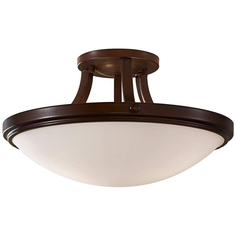 """Feiss Perry Bronze 15 3/4"""" Round Ceiling Light"""