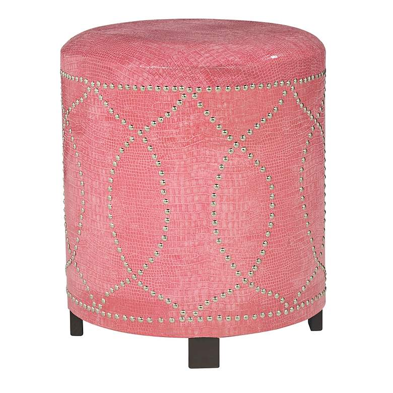 Pink Leather with Nickel Nailhead Round Ottoman
