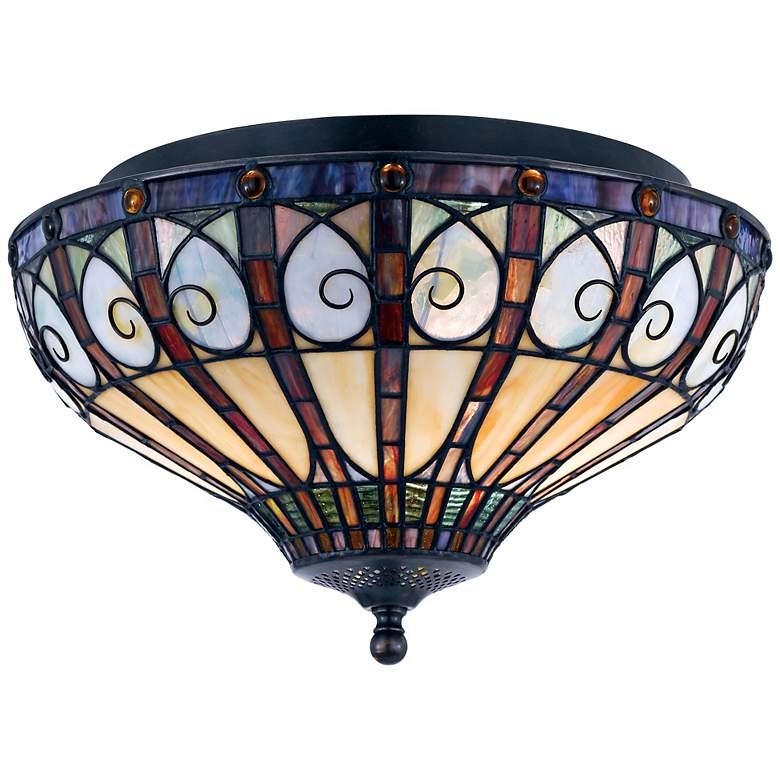 "Quoizel Ava Collection 14"" Wide Vintage Bronze Ceiling Light"