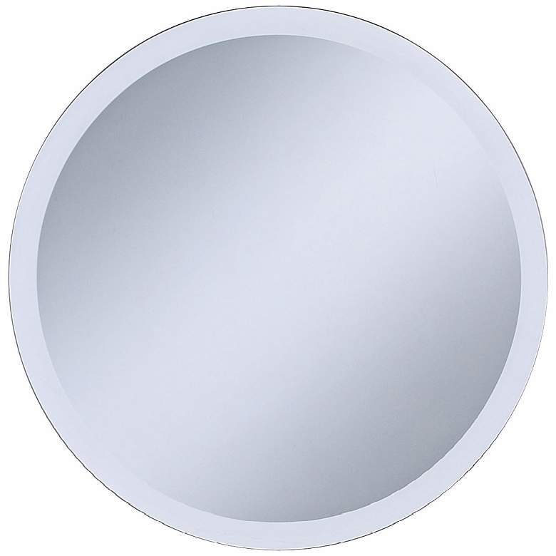 "Adonia Frameless 18"" Round Beveled Wall Mirror"