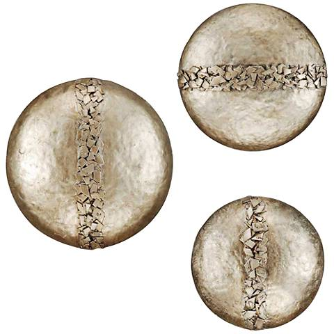 """Hammered Discs 22"""" Wide Set of 3 Wall Art Pieces"""
