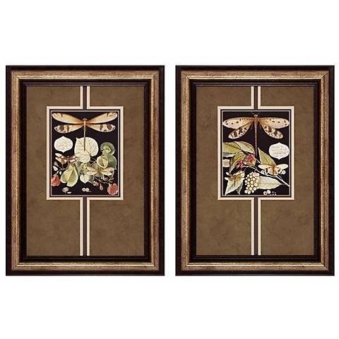 "Dragonfly I and II 24"" High Framed Wall Art"