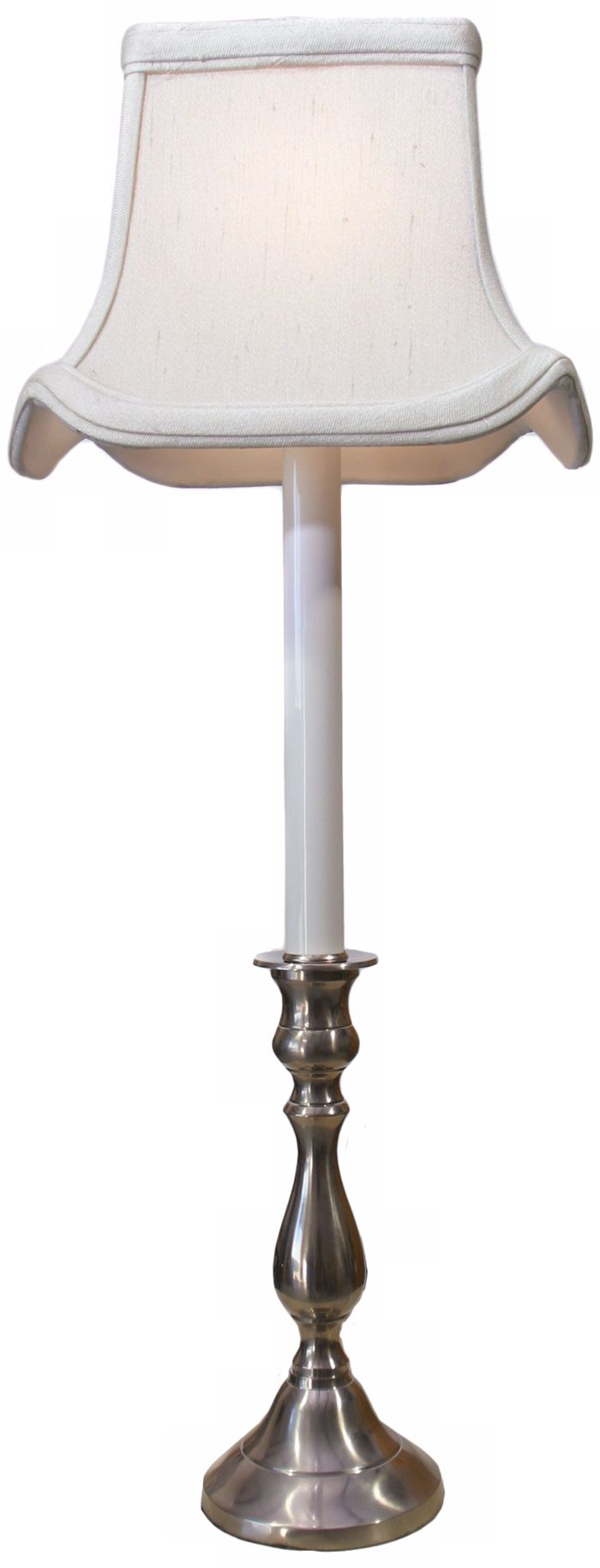 Pewter White Shade Tall Candlestick Table Lamp