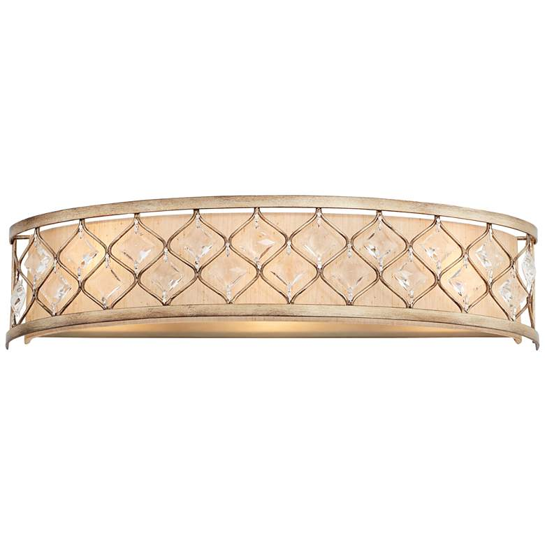 "Jeweled Golden Bronze 25"" Wide Bathroom Wall Light"