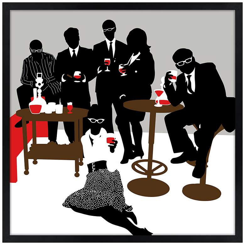 """Martini Lunch 21"""" Square Black Giclee Wall Art"""