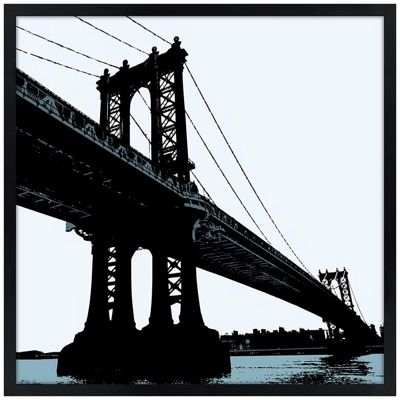"Manhattan Bridge 21"" Square Black Giclee Wall Art"