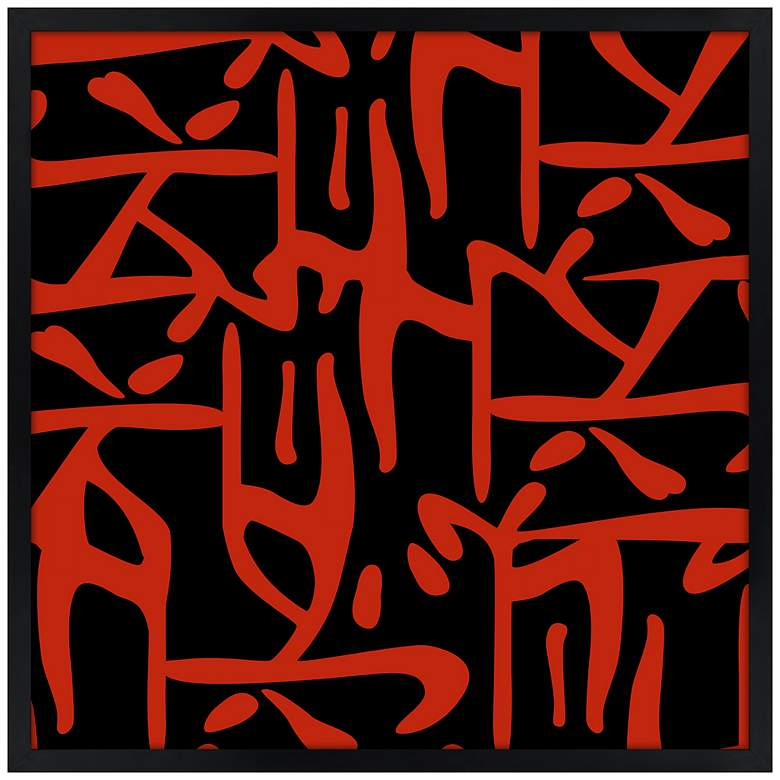 """Asian Flair Accent 21"""" Square Black Giclee Wall Art"""