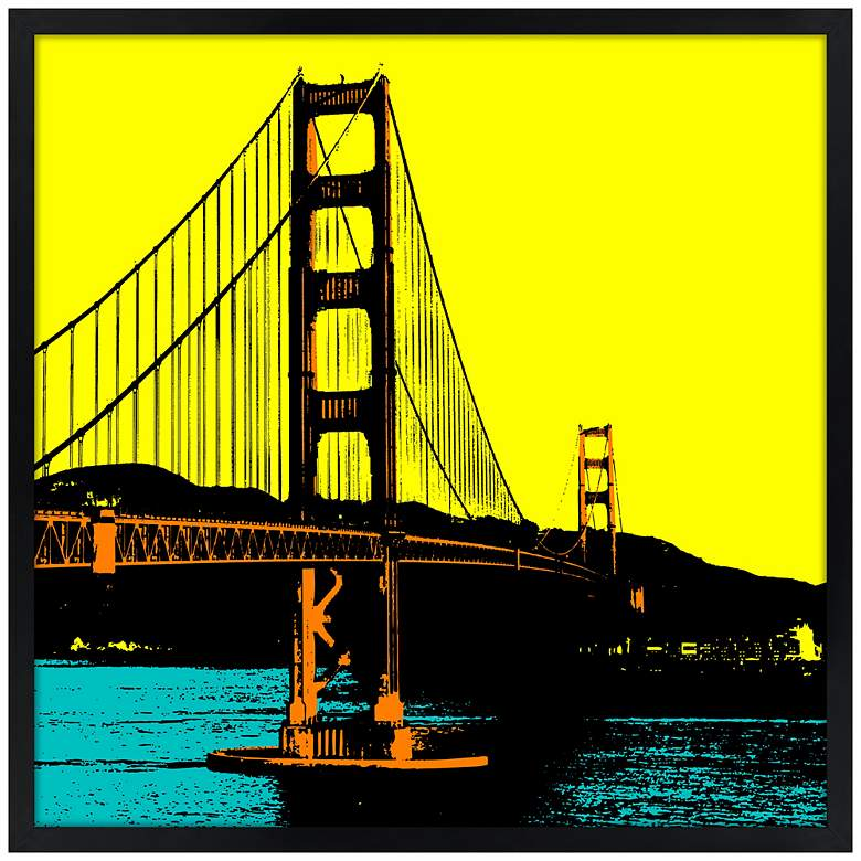 "San Francisco Bay 21"" Square Black Giclee Wall Art"