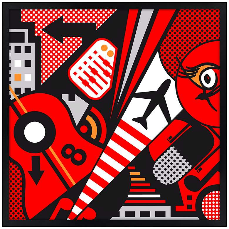 "Mixup 2000 Red 21"" Square Black Giclee Wall Art"