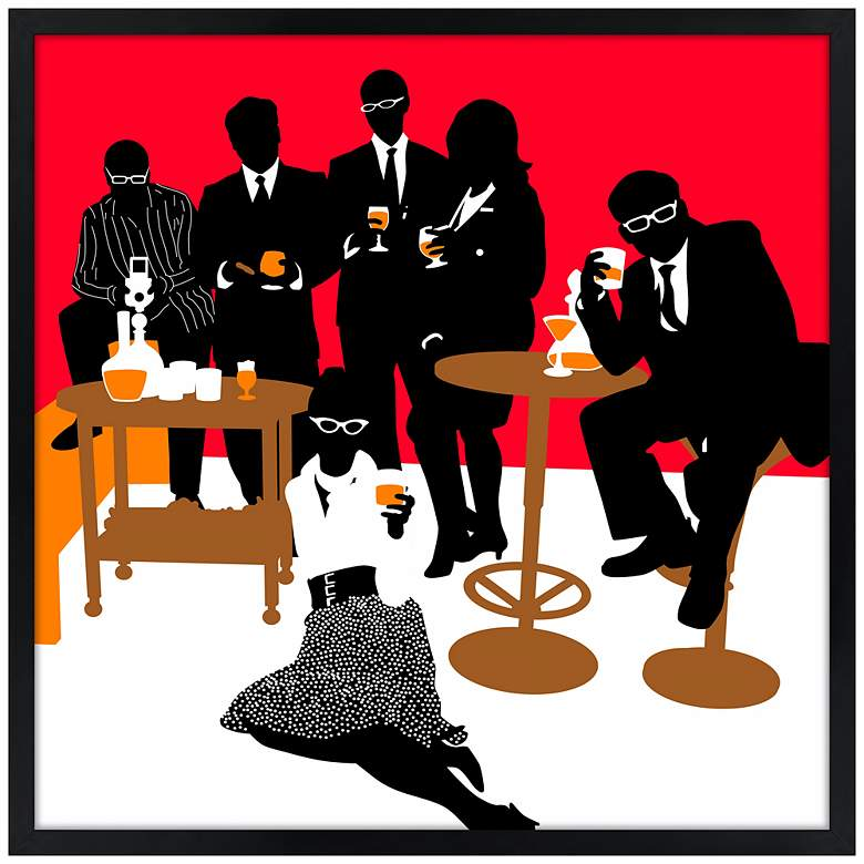 "Martini Lunch Red 21"" Square Black Giclee Wall Art"