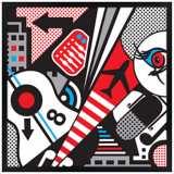 "Mixup 2000 White 26"" Square Black Giclee Wall Art"