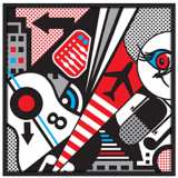"Mixup 2000 White 37"" Square Black Giclee Wall Art"