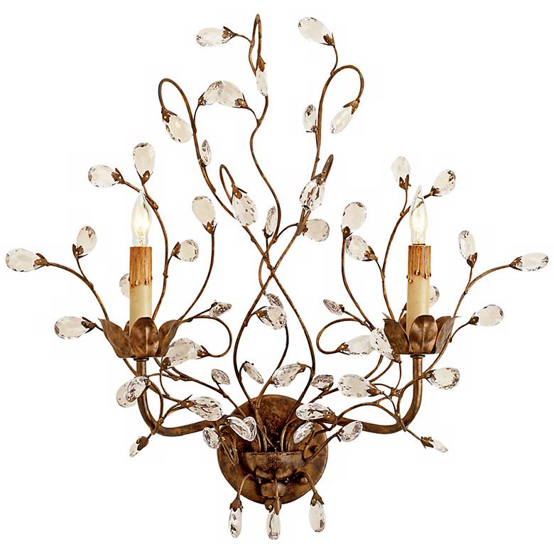 """Currey and Company Crystal Bud 21"""" High Plug-In Wall Sconce"""