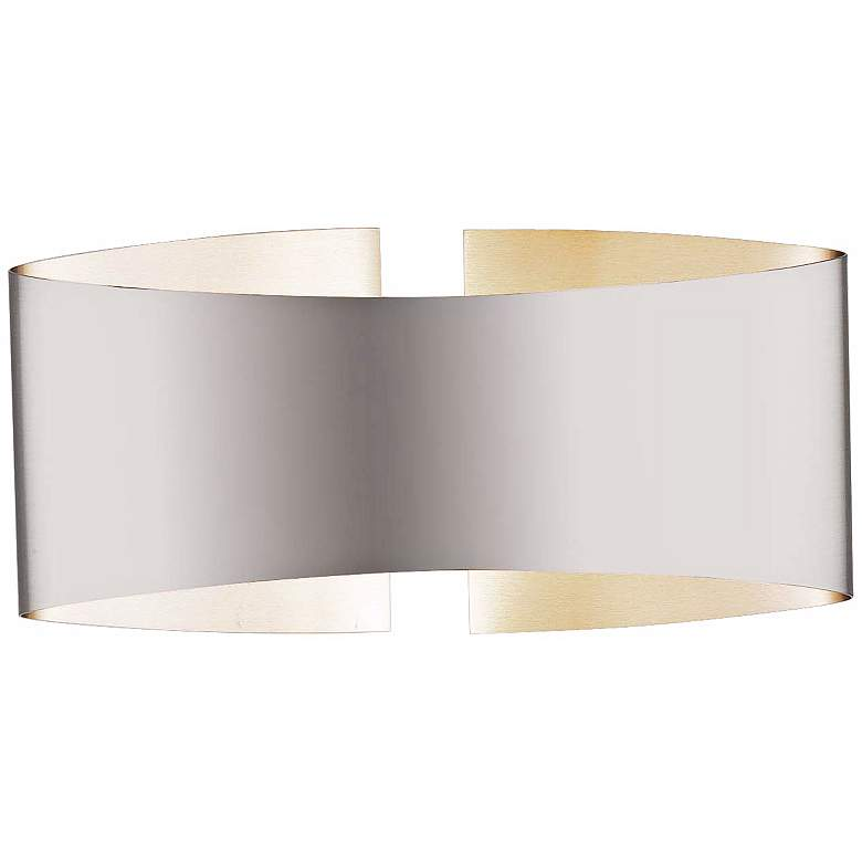 """Holtkoetter Voila 9 1/4"""" Wide Stainless Steel Wall Sconce"""