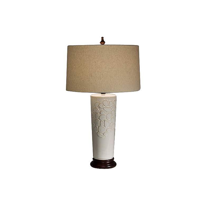 Natural Light Ambrosia Ceramic and Wood Table Lamp
