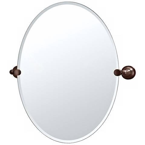 """Gatco Tiara Oiled Bronze 24"""" x 26 1/2"""" Frameless Oval Mirror"""