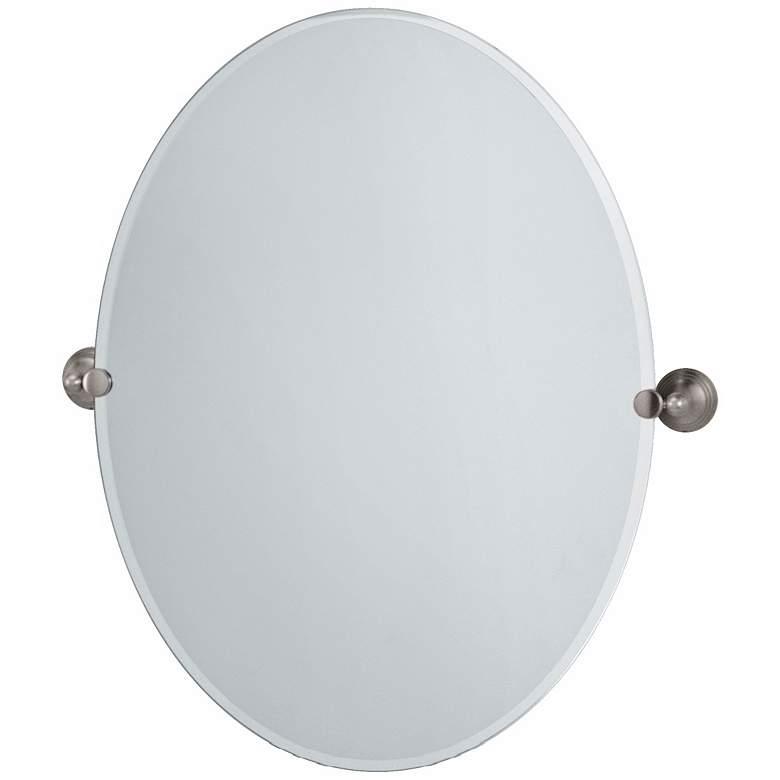 "Gatco Satin Nickel Charlotte 32"" High Large Oval Mirror"
