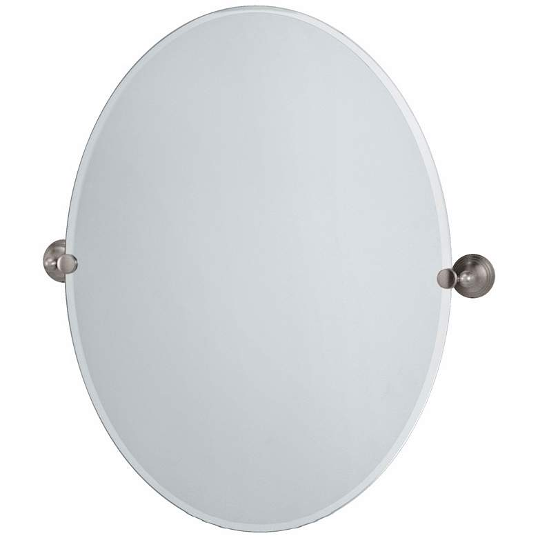 "Gatco Charlotte Satin Nickel 27 1/2"" x 32"" Oval Wall Mirror"