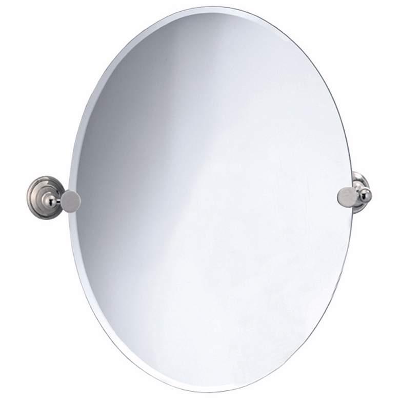 """Gatco Laurel Avenue Nickel 24"""" x 26 1/2"""" Oval Wall Mirror"""