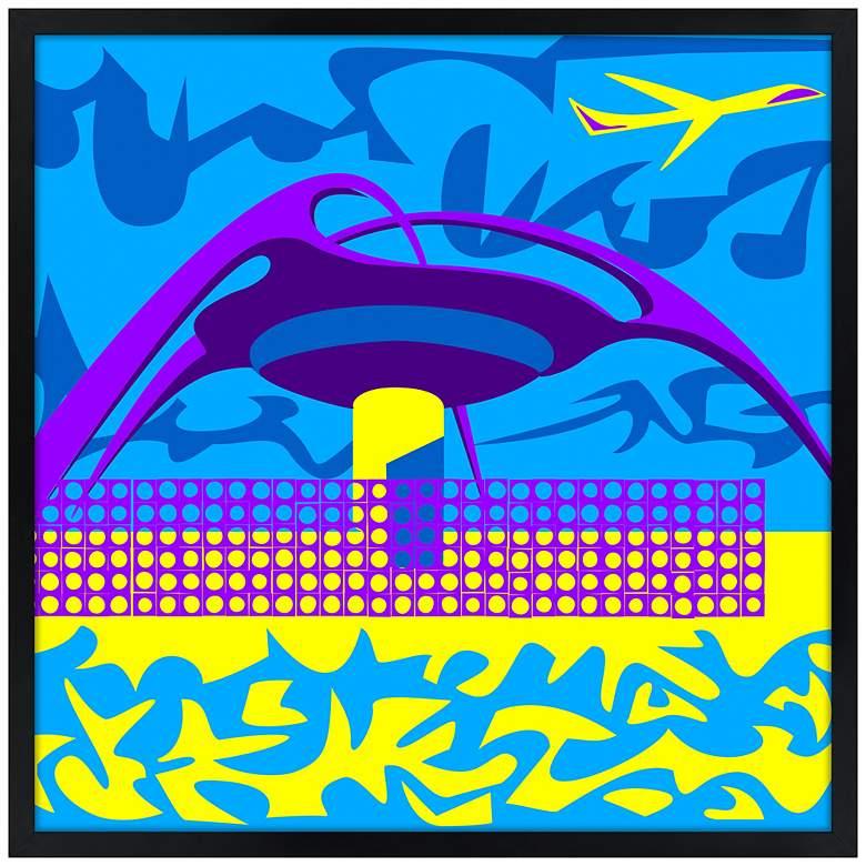 "LA Jet Plane 21"" Square Black Giclee Wall Art"