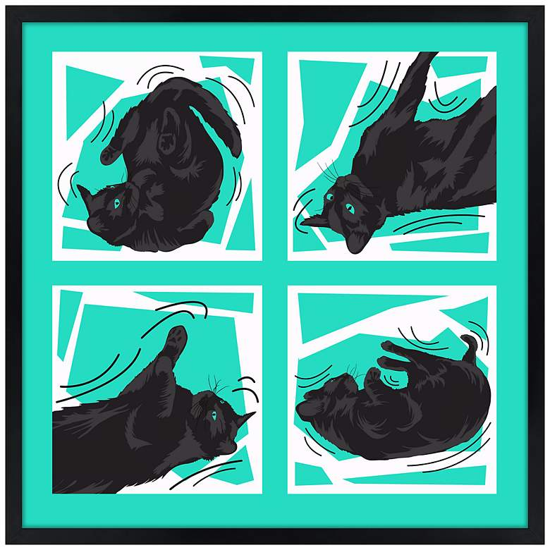 """Kinetic Cat Teal 21"""" Square Black Giclee Wall Art"""
