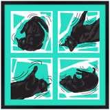 Kinetic Cat Teal Wall Art