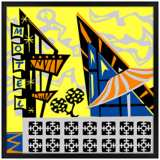 "Sunny Motel 31"" Square Black Giclee Wall Art"