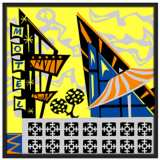 "Sunny Motel 37"" Square Black Giclee Wall Art"