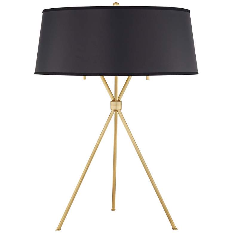 Quoizel Epoch Natural Brass Black Shade Table Lamp