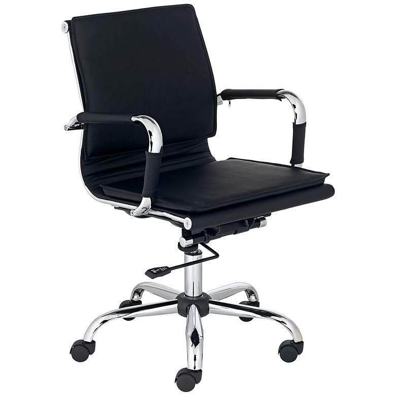 Tanner Black Faux Leather Lowback Desk Chair