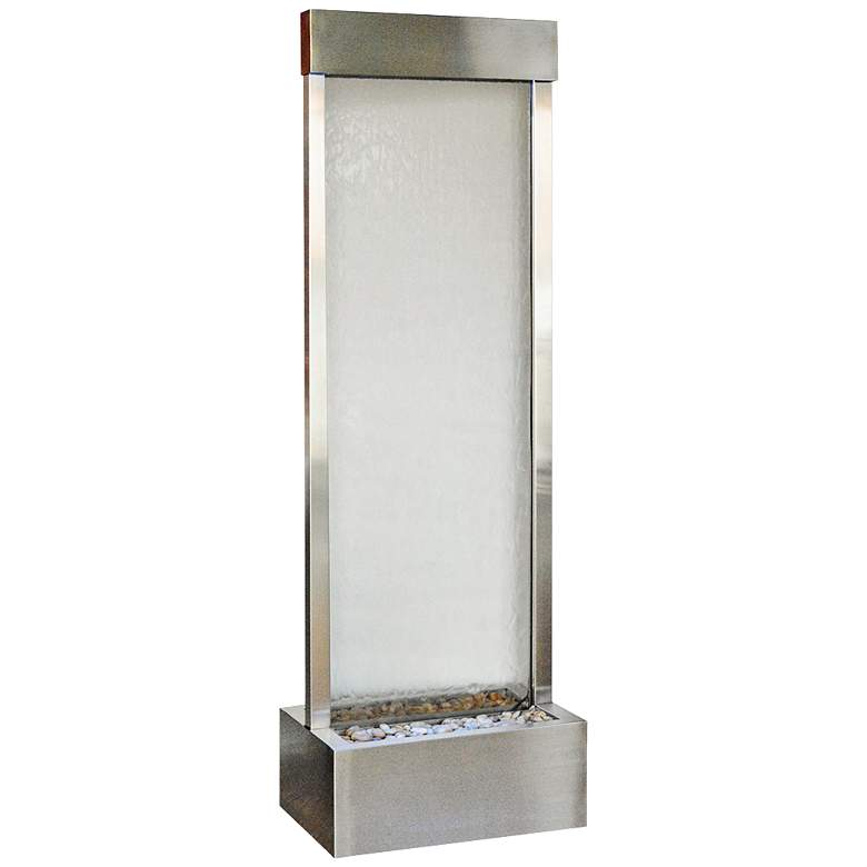 """Gardenfall 90"""" LED Clear Glass Indoor/Outdoor Steel Fountain"""