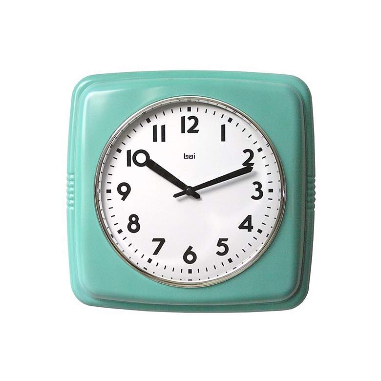 "Retro Turquoise 9 1/2"" Square Wall Clock"