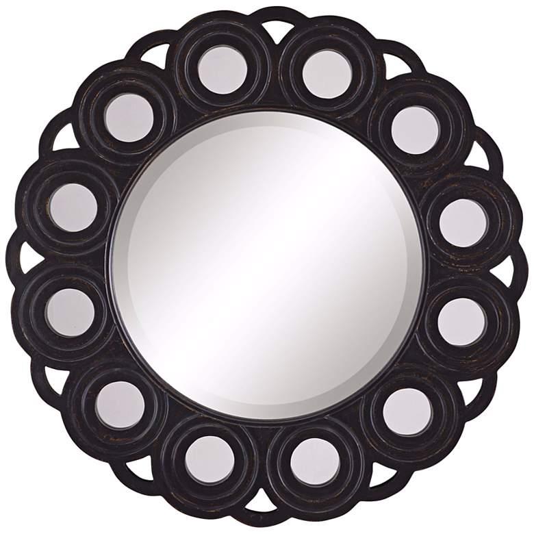 "Circle Blossom Aged Black 30"" Diameter Wall Mirror"