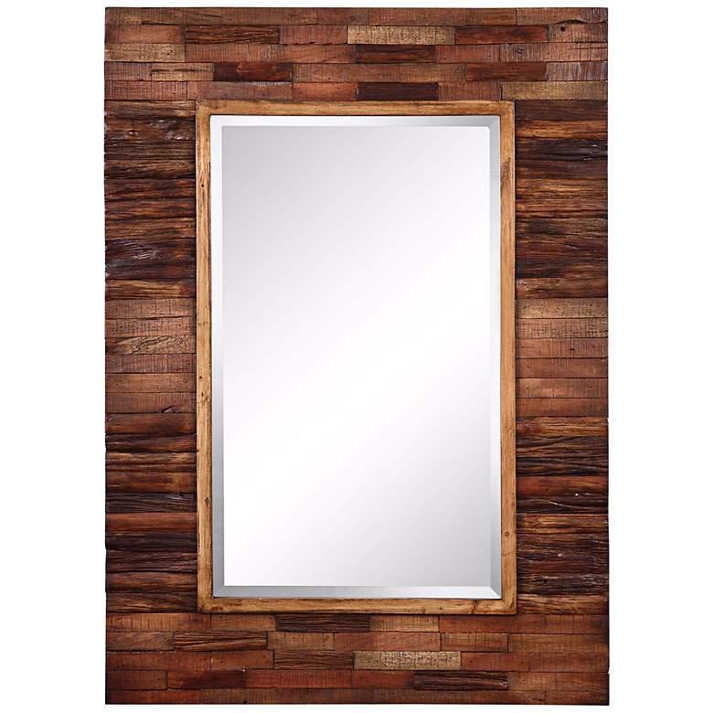 """Cooper Classics Rustic Getaway Wood 30"""" x 42"""" Wall Mirror"""