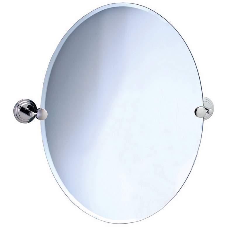"Gatco Marina Chrome 28 1/2"" x 32"" Oval Tilting Wall Mirror"
