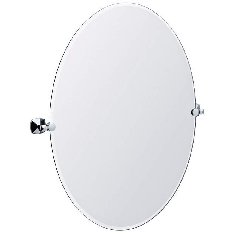 "Gatco Jewel Chrome 28"" x 32"" Oval Tilting Wall Mirror"