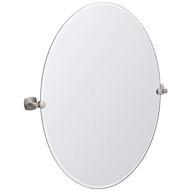 "Gatco Jewel Satin Nickel 28"" x 32"" Oval Tilt Wall Mirror"
