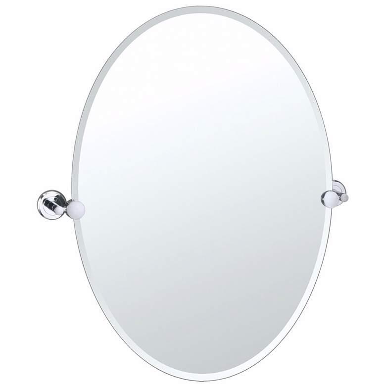 "Latitude 2 Chrome Finish 23 1/2"" x 26 1/2"" Oval Wall Mirror"