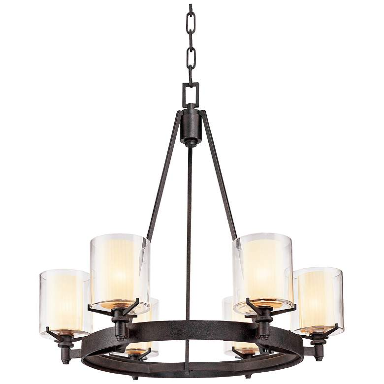 """Arcadia 27"""" Wide French Iron Pendant Chadelier"""