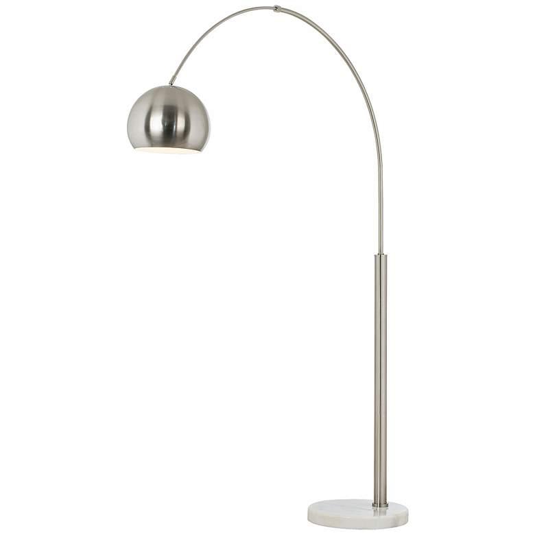 Basque Brushed Nickel Modern Arc Floor Lamp