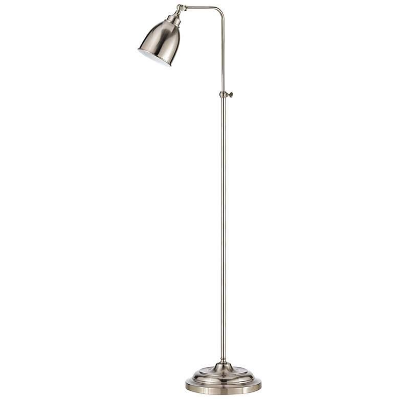 Brushed Steel Metal Adjustable Pole Pharmacy Floor Lamp