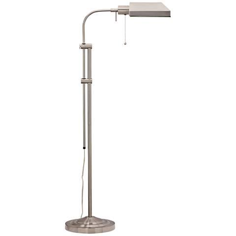 Brushed Steel Adjustable Pole Pharmacy Metal Floor Lamp