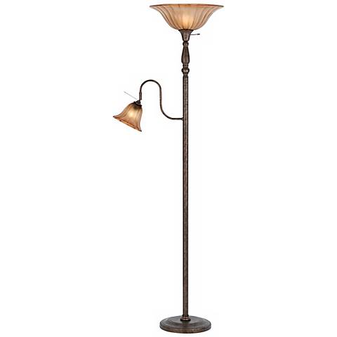 Rust Finish Torchiere with Reading Light